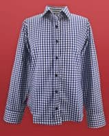 Grenouille Ladies Long Sleeve Navy Check Cotton Twill Shirt
